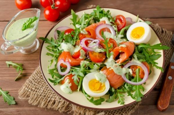 Салат из лосося и овощей - «Закуски»