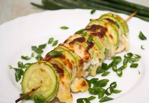 Шашлык из куриной грудки с кабачком на мангале - «Блюда из мяса»