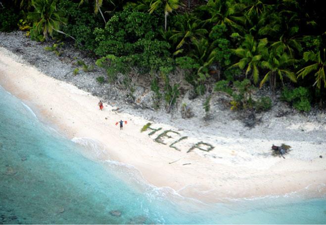 Как в кино! Потерявшиеся туристы спаслись необитаемого острова с помощью гигантской надписи