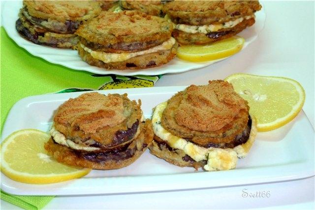 Закуска из баклажан с творожно-сырной начинкой и кунжутной шапочкой - «Закуски»
