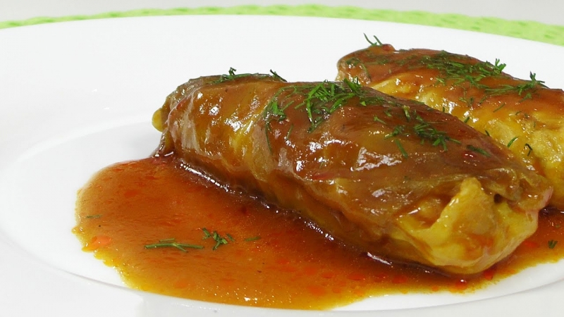 Голубцы с курицей в томатном соусе видео рецепт  - «Видео советы»