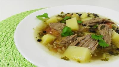Густой мясной суп с барбарисом и кориандром - «Видео уроки рецептов»