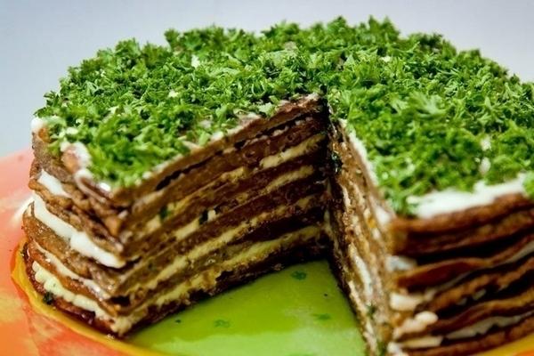 Печеночный торт «Прощай фигура» с грибами - «Второе блюдо»