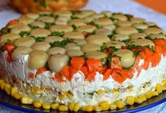 Торт-салат с курицей и грибами - «Закуски»